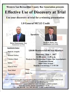 Effective Discovery at Trial Flyer